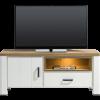 Tv meubel arizona, wit met eikenhout