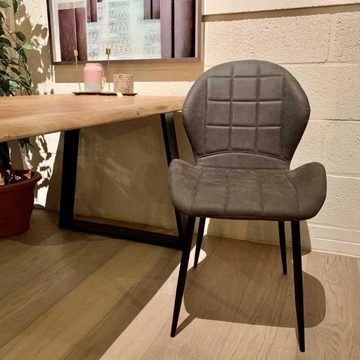 Industriële stoel microfiber kleur taupe
