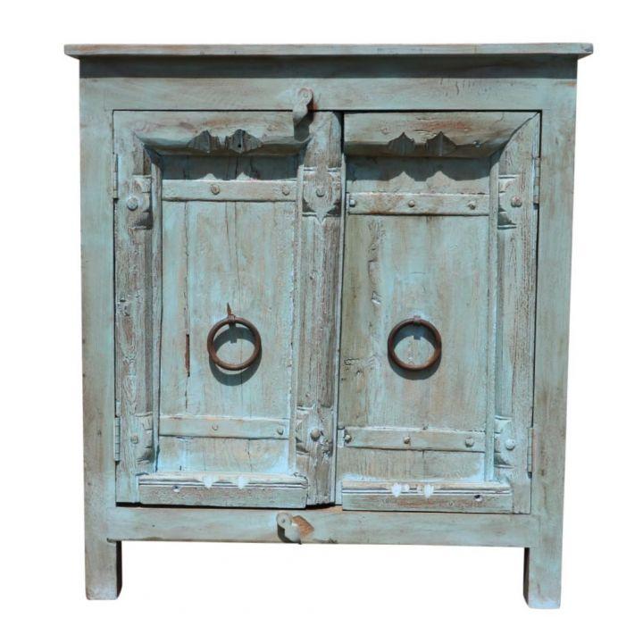 Oude deuren kastje blauw