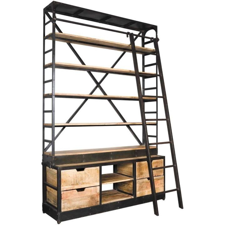 Boekenkast met ladder industrieel