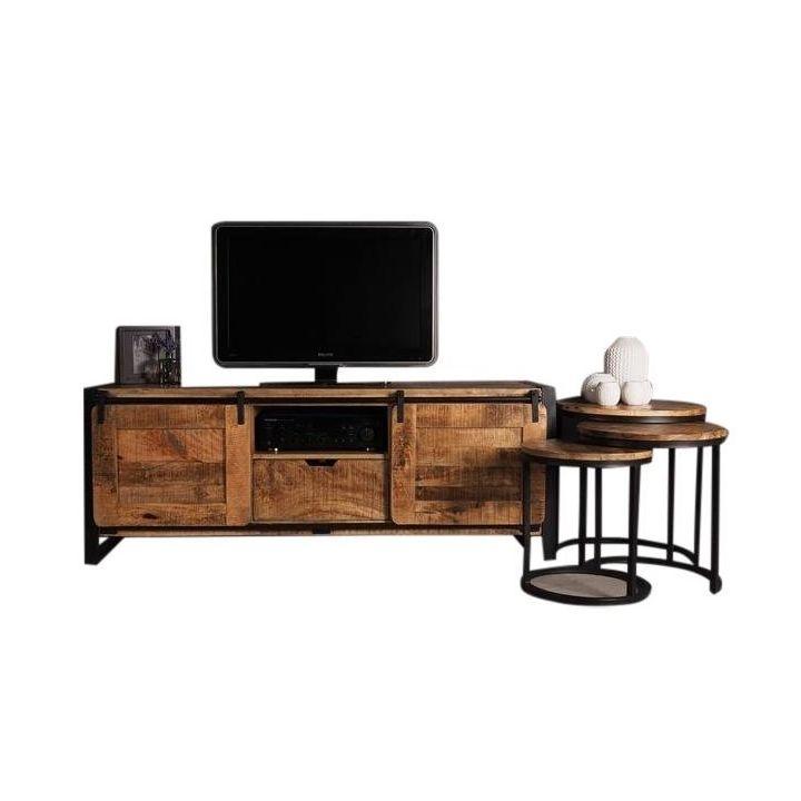 industrieel tv meubel mangohout
