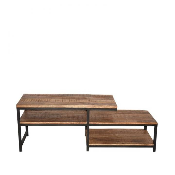 TV meubel vintage mangohout metaal soho