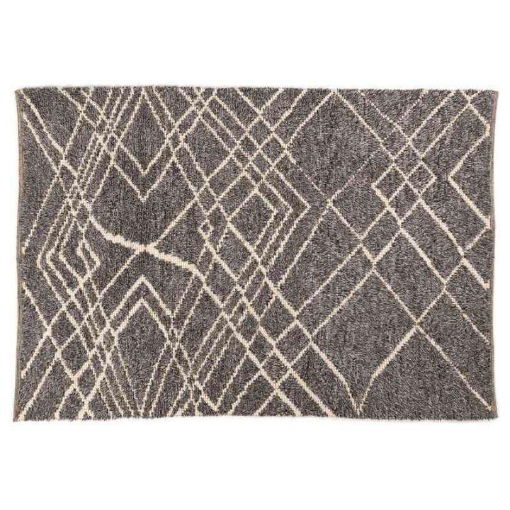 Grijs karpet met print, happy home vloerkleden