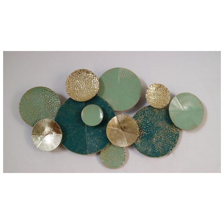 metalen wandornament, groene wanddecoratie