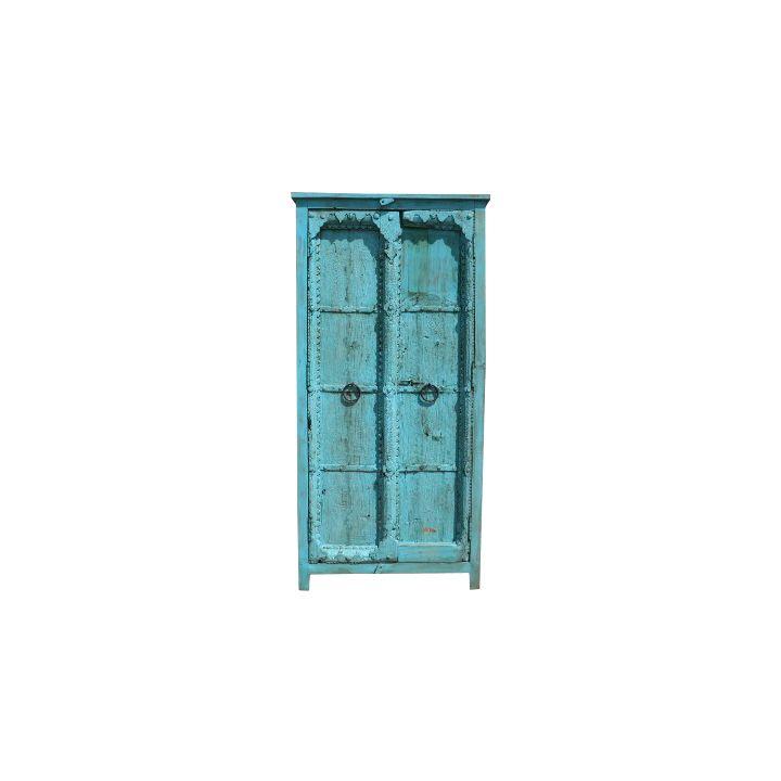 Oude deuren kast blauw