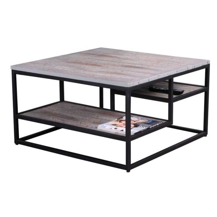 Industriële salontafel groen vierkant 80cm