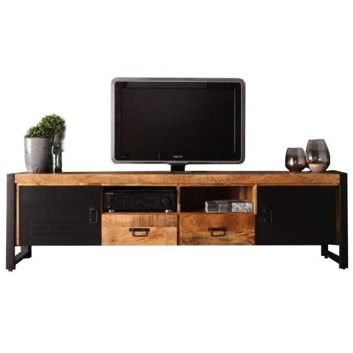 tv meubel mangohout 200 cm 2 deuren 2 laden