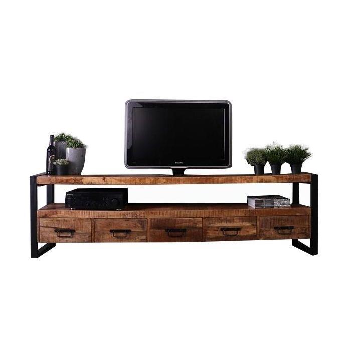 Industrieel tv meubel mangohout 210cm
