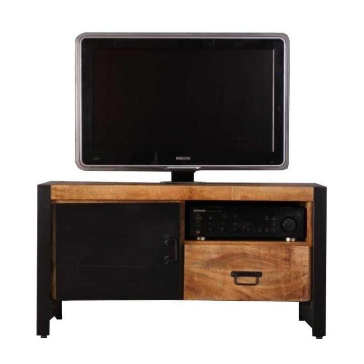 klein industrieel tv meubel mangohout