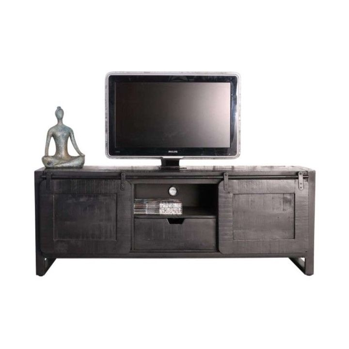 tv meubel mangohout industrieel zwart